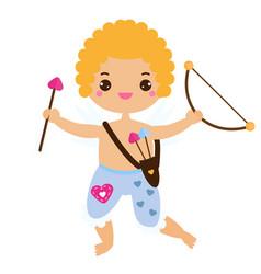 Cute cupid boy with love arrow and bow vector