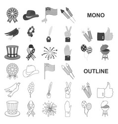 day of patriot holiday monochrom icons in set vector image