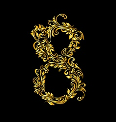 Decorated eight digit on black vector image