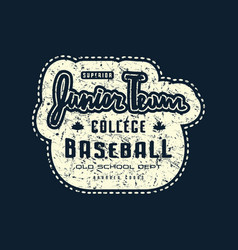 Emblem junior baseball team with rough texture vector