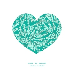 Emerald green plants heart silhouette vector