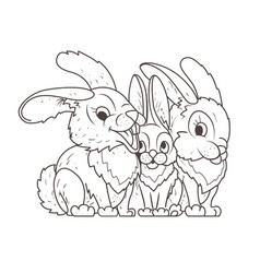 Family hares coloring book vector