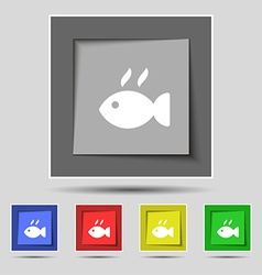 Fish dish Icon sign on original five colored vector