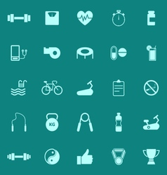 Fitness color icons on green background vector