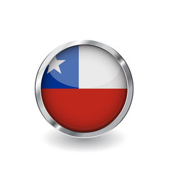 flag of chile button with metal frame and shadow vector image