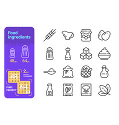 food ingredients and tableware line icons set vector image