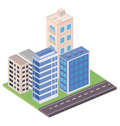 Four buildings isometrics vector