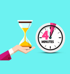 four minutes clock symbol 4 minute hourglass icon vector image