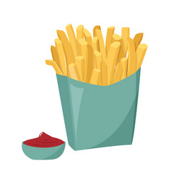 French fries with tomato sauce isolated on white vector