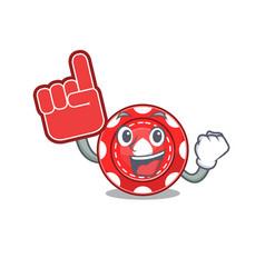 Gambling chips mascot cartoon style holding a vector