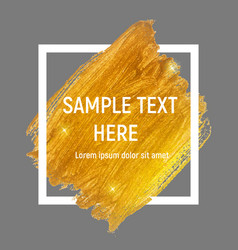 Gold paint glittering textured art with frame vector