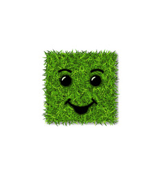 Green grass square field 3d face smile smiley vector