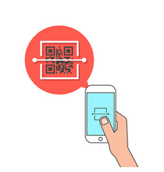hand holding phone and scanning qr code vector image