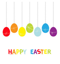 happy easter colorful text hanging rainbow color vector image