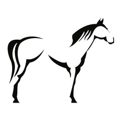 horse black shadow outline vector image
