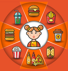 Infographic set of fast food icons and woman vector