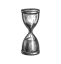ink sketch vintage hourglass vector image