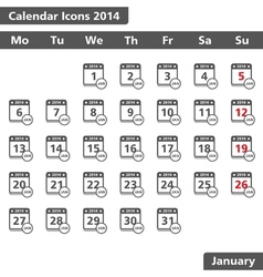 January 2014 Calendar Icons vector image