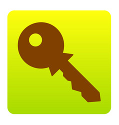 key sign brown icon at green vector image