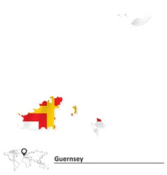 Map of Guernsey with flag vector image