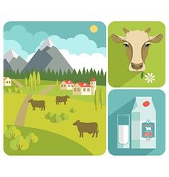 Modern flat design of milk vector