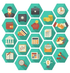 Modern Flat Financial and Business Icons Hexagon vector