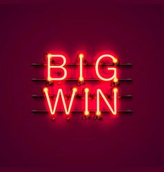 Neon casino big win signboard vector