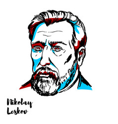Nikolai leskov portrait vector