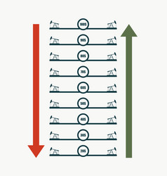 oil derrick icons and abstract price list vector image