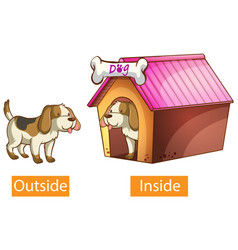 Opposite adjectives words with outside and inside vector