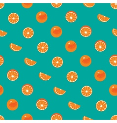 Orange with peel and orange slice seamless pattern vector