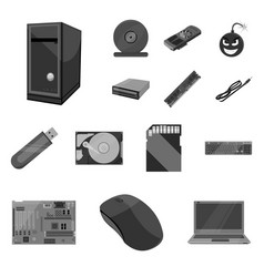 personal computer monochrome icons in set vector image