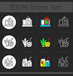 Pickup and delivery option dark theme icons set vector