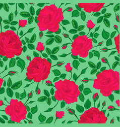 Pink rose forest pattern vector