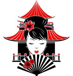 Portrait of Asian girl vector image vector image
