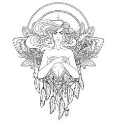 Pretty fairy elf portrait young woman view vector