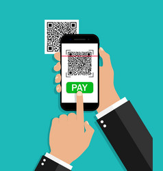 qr code scan from mobile payment from phone vector image
