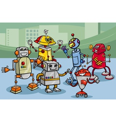 robots group cartoon vector image