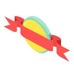 round ribbon emblem icon isometric style vector image