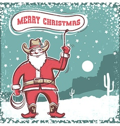 Santa Claus in cowboy boots twirling a lasso Merry vector