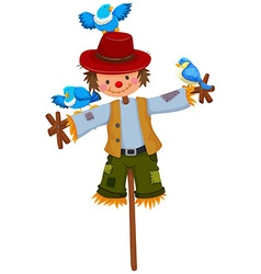 Scarecrow on stick with blue birds vector