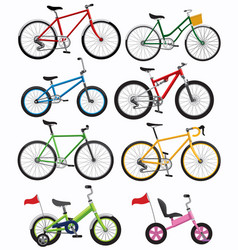 set bicycle insimple flat style vector image