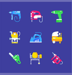 set electric power tools icons vector image