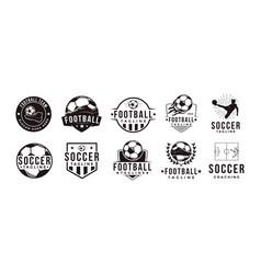 Set football soccer sport team club logo vector
