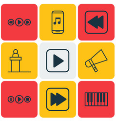 Set of 9 audio icons includes piano bullhorn vector