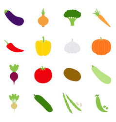 set of color vegetables icons vector image