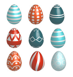 set of nine realistic colorful easter eggs vector image