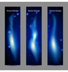 set vertical banners with abstract blue fire vector image