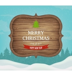 Signboard with Christmas greeting against a winter vector