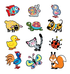 simple children picture with animals vector image vector image